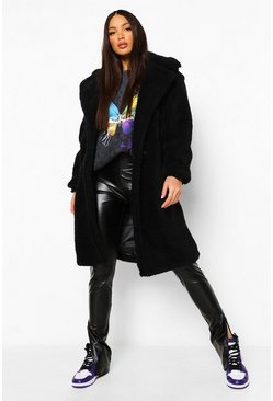 Black Tall Teddy Faux Fur Pocket Detail Maxi Coat