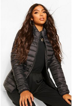 Black Tall Basic Puffer Jacket