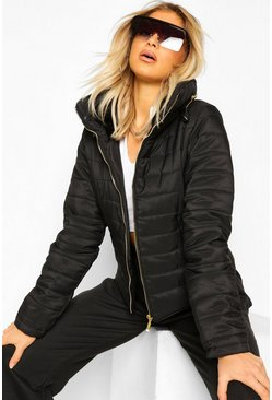 Black Tall Faux Fur Trimmed Puffer Belted Coat