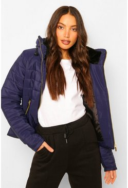 Navy Tall Faux Fur Trimmed Puffer Belted Coat