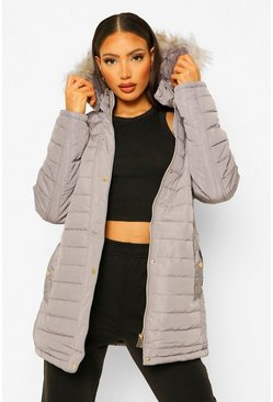 Charcoal grey Tall Faux Fur Trimmed Puffer Belted Coat