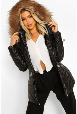 Black Tall Faux Fur Trimmed Puffer Coat