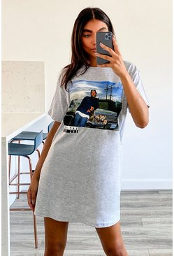 Grijs grey Tall Gelicenseerd Oversized Ice Cube T-Shirt Met Rugopdruk