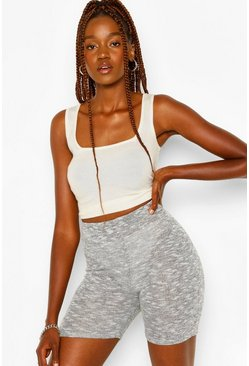 Grey Tall Lightweight Melange Biker Shorts