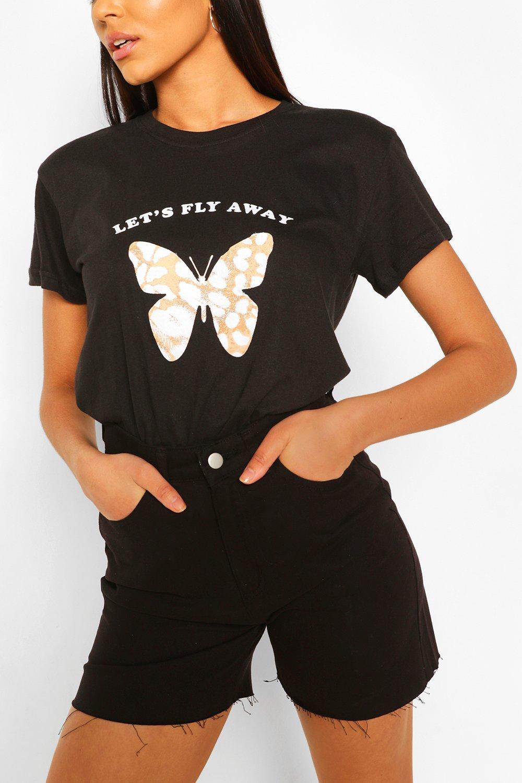 Tall Clothing Black Tall Leopard Butterfly Print T-Shirt