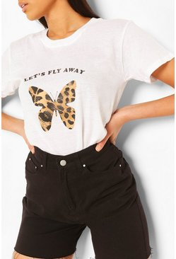 White Tall Leopard Butterfly Print T-Shirt