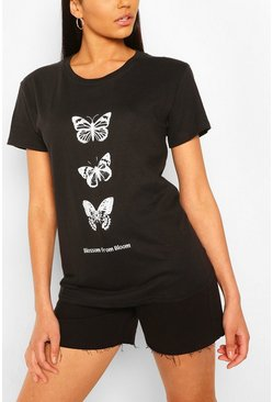 Black Tall Mono Butterfly Print T-Shirt