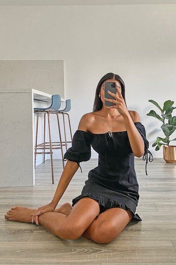 Black Tall Off The Shoulder Puff Sleeve Mini Dress