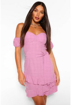 Pink Tall Off The Shoulder Ruffle Tie Waist Mini Dress