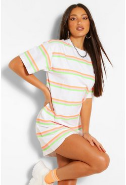 White Tall Neon Stripe Oversized T-Shirt Dress
