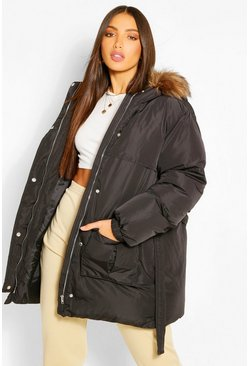 Black Tall Faux Fur Belted Padded Coat