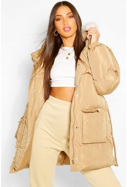 Gold metallic Tall Faux Fur Belted Padded Coat