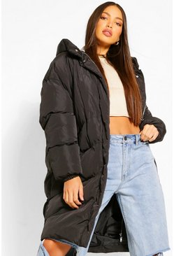 Black Tall Quilted Hooded Longline Puffer Coat