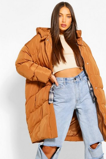 Rust orange Tall Quilted Hooded Longline Puffer Coat