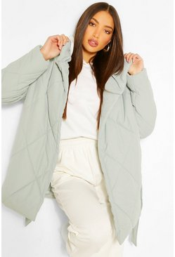 Sage green Tall Diamond Quilted Belted Coat