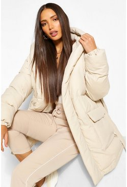 Ecru white Tall Padded Belted Coat