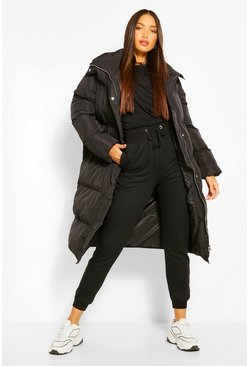 Black Tall Longline Padded Puffer Coat