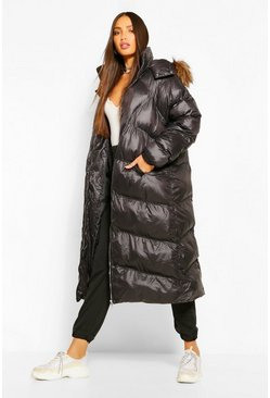 Black Tall Faux Fur Longline Puffer Coat