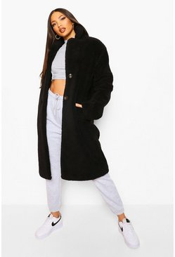 Black Tall Longline Faux Fur Double Breasted Coat