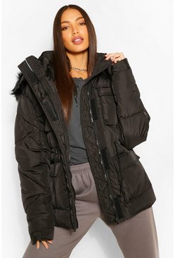 Black Tall Faux Fur Hooded Waist Cinch Coat