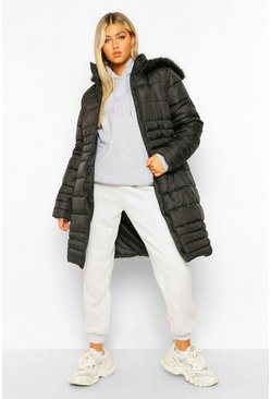 Black Tall Faux Fur Hooded Parka Coat