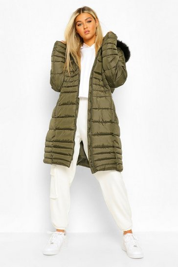 Khaki Tall Faux Fur Hooded Parka Coat