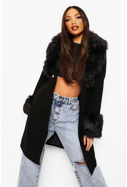 Black Tall Faux Fur Collar And Cuff Coat