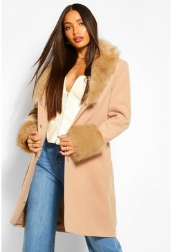 Camel beige Tall Faux Fur Collar And Cuff Coat
