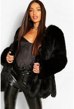 Black Tall Faux Fur Coat