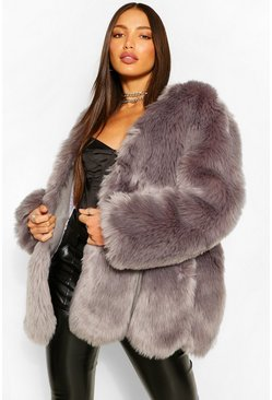 Light grey grey Tall Faux Fur Coat
