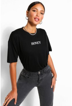 Black Tall 'Honey' T-Shirt