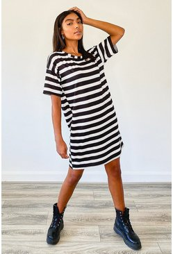 Black Tall Stripe Oversized T-Shirt Dress