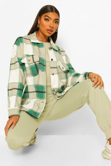 Green Tall Check Shacket