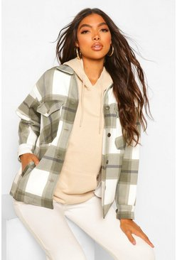 Khaki Tall Check Shacket