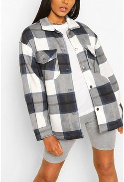 Navy Tall Check Shacket