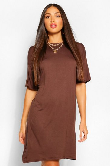Chocolate brown Tall Plain T-Shirt Dress