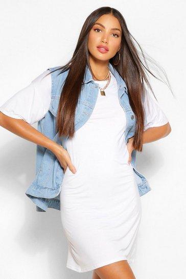 White Tall Plain T-Shirt Dress