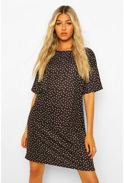 Black Tall Polka Dot Print T-Shirt Dress