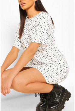 White Tall Polka Dot Print T-Shirt Dress