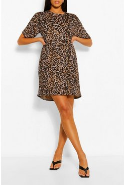 Brown Tall Leopard Print T-Shirt Dress