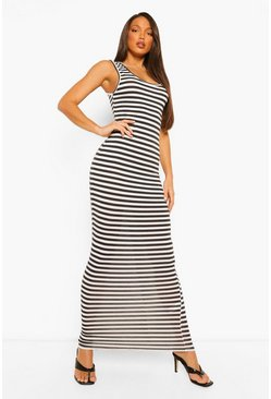 Black Tall Basic Stripe Maxi Dress