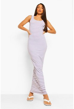 Grey Tall Basic Stripe Maxi Dress