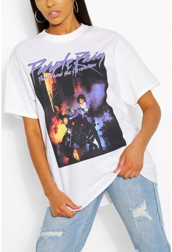 White Tall Purple Rain Oversized Licensed T-Shirt