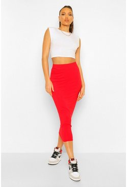 Red Tall Midaxi Skirt