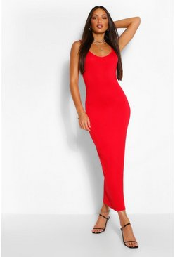Red Tall Scoop Midaxi Dress