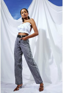 Grey Tall Wide Leg Acid Wash Boyfriend Jeans