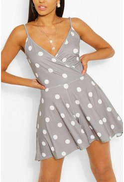 Sage green Tall Polka Dot Flippy Playsuit