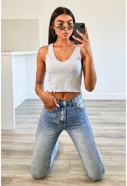 Grey Tall Rib Lettuce Edge Hem Crop Top