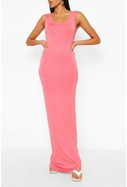 Coral pink Tall Basic Maxi Dress