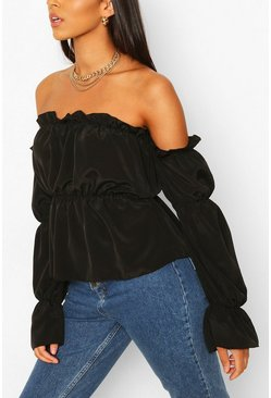 Black Tall Off The Shoulder Volume Sleeve Top